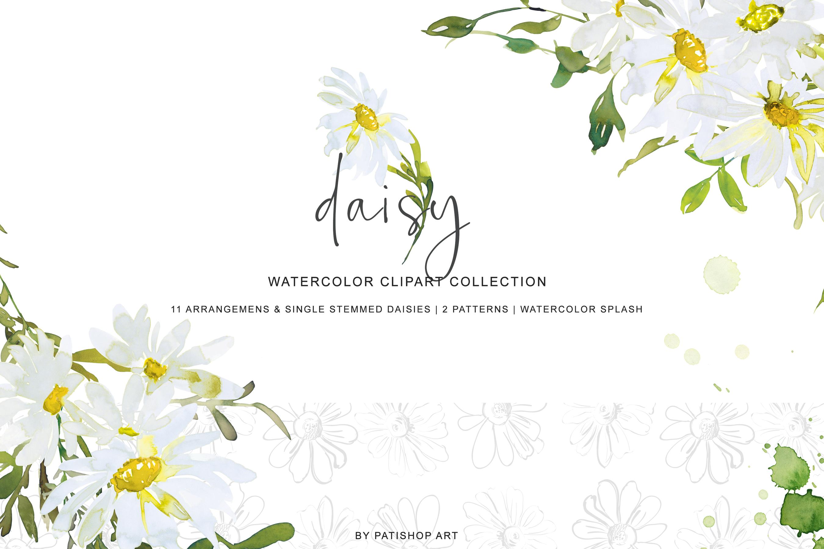 Watercolor Daisy Arrangement Clip Art example image 3