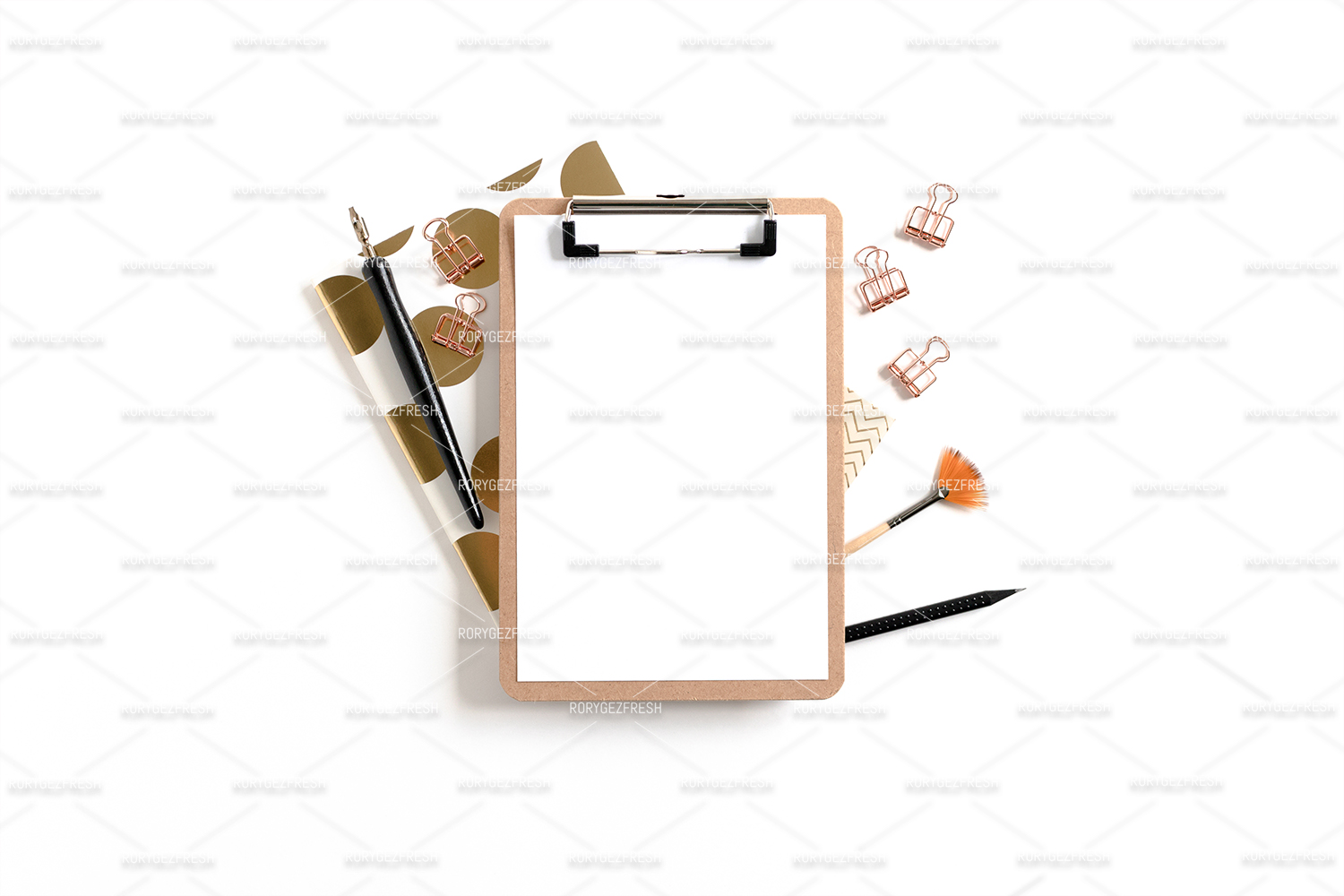 Clipboard mockup with frame made of stationery and notepads example image 1