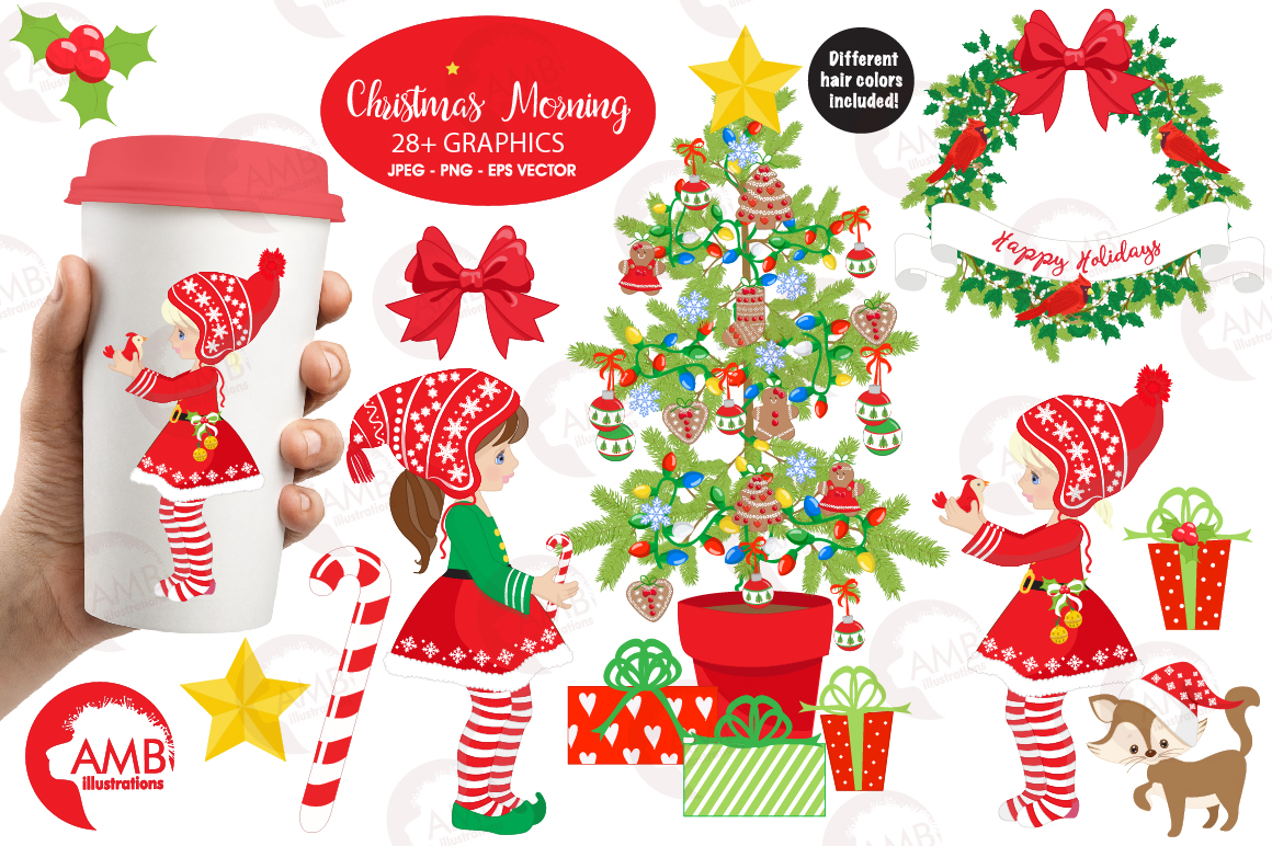 Christmas Girls, winter girls clipart, graphics, illustrations AMB-1519 example image 1