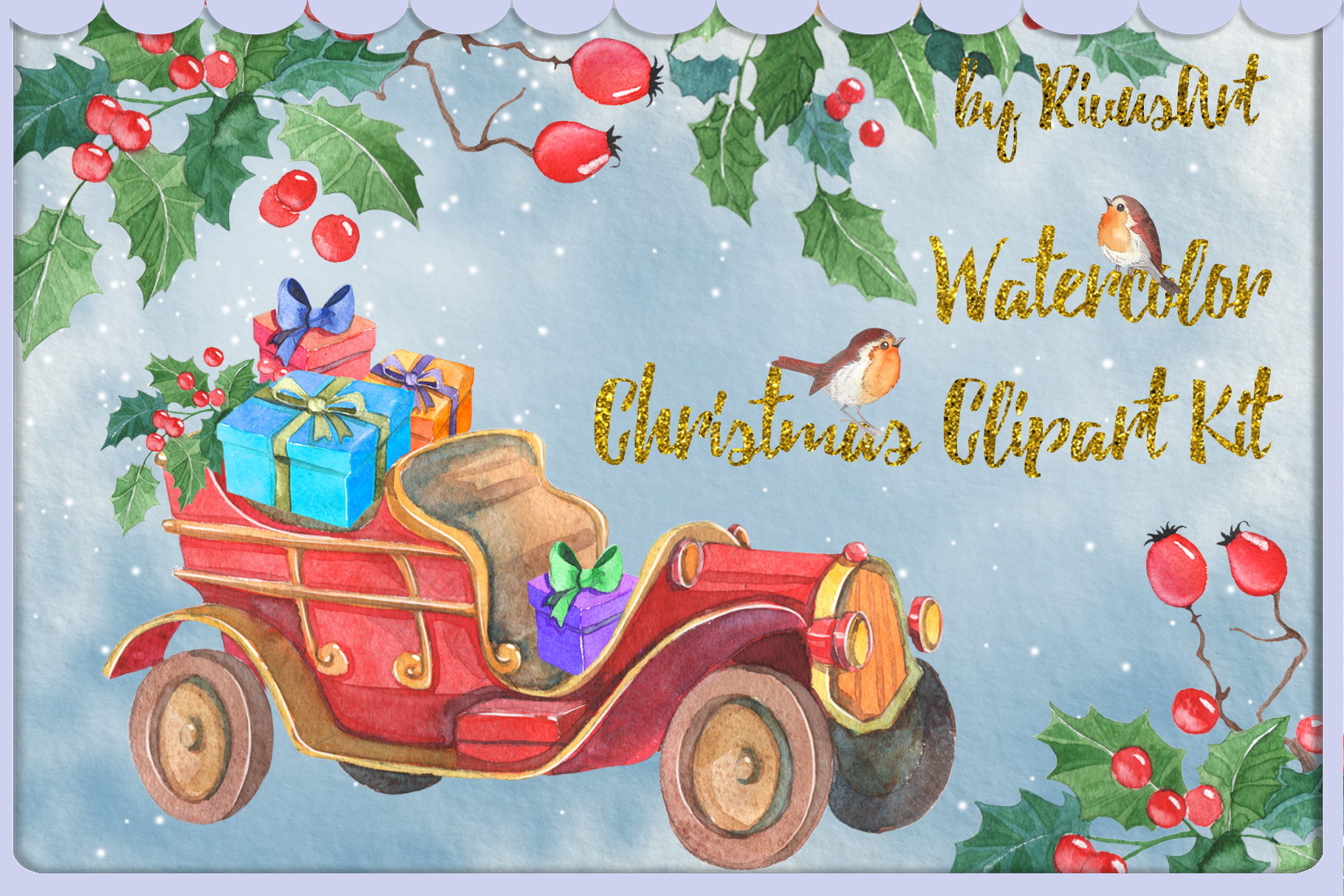 Watercolor Christmas clipart set example image 3