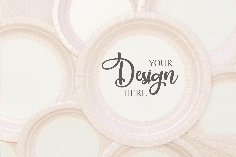 Pink plates mock up Styled Photography Product mockup example image 1