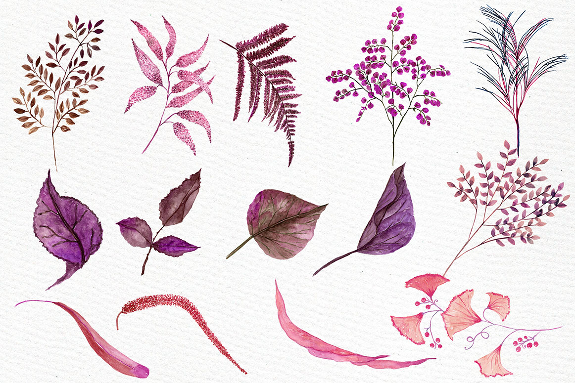 Pink watercolor flowers clipart example image 3