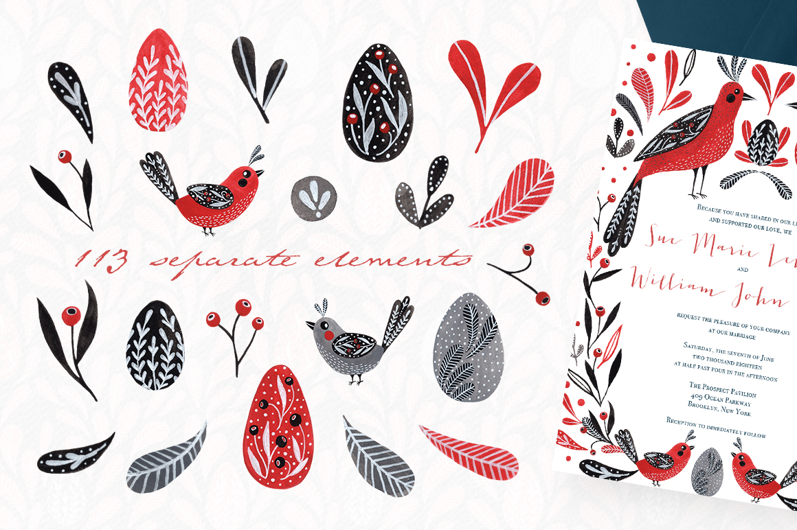 Lovebirds folk art bird illustrated collection example image 3