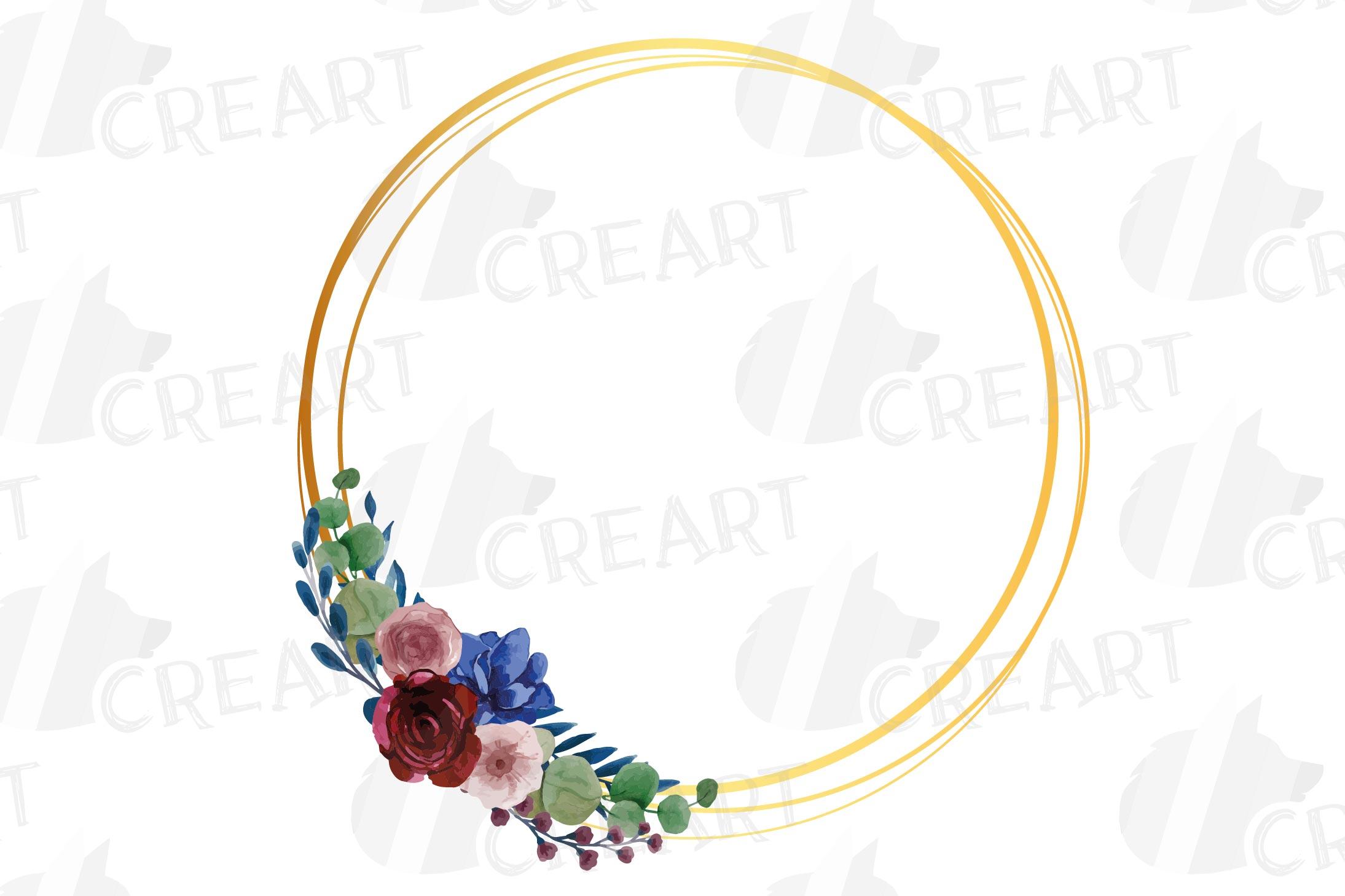 Watercolor elegant floral borders clip art. Wedding frames example image 20