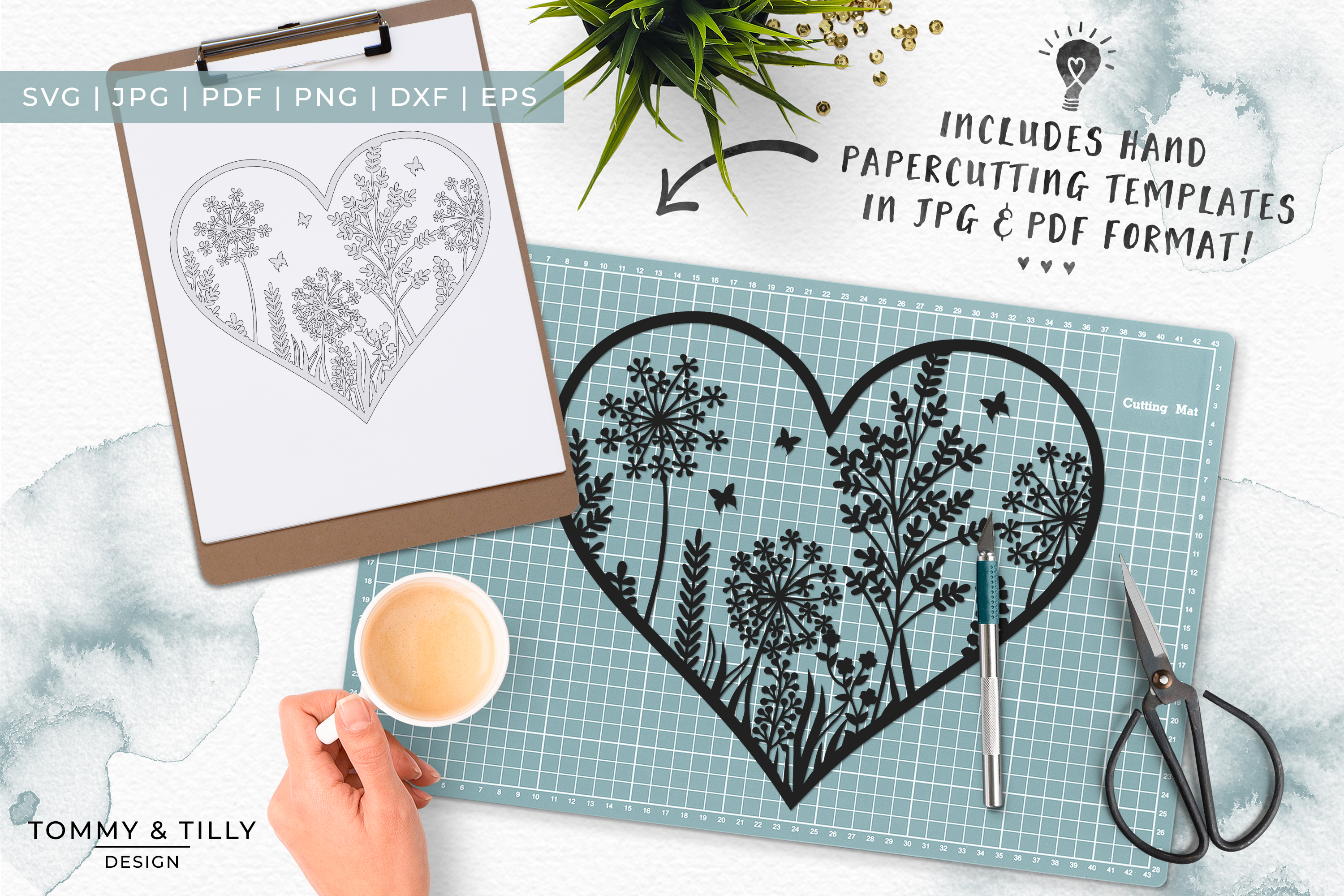 Meadow Heart - Papercut Template SVG EPS DXF PNG PDF JPG example image 3