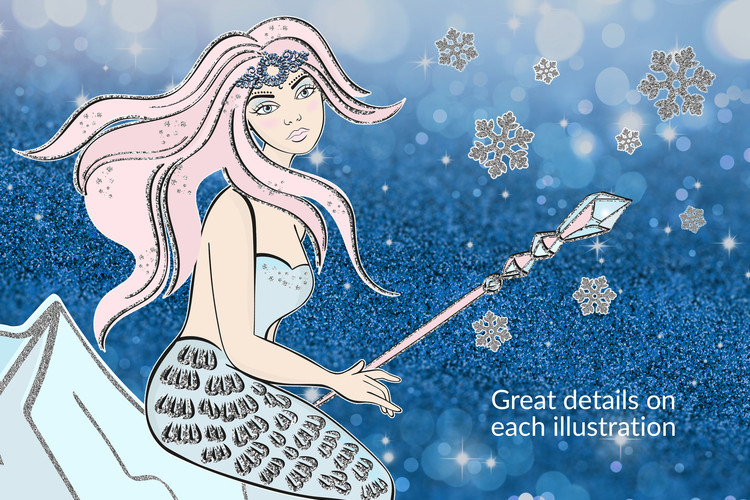 ICE MERMAID Glitter Christmas Illustration Set example image 4