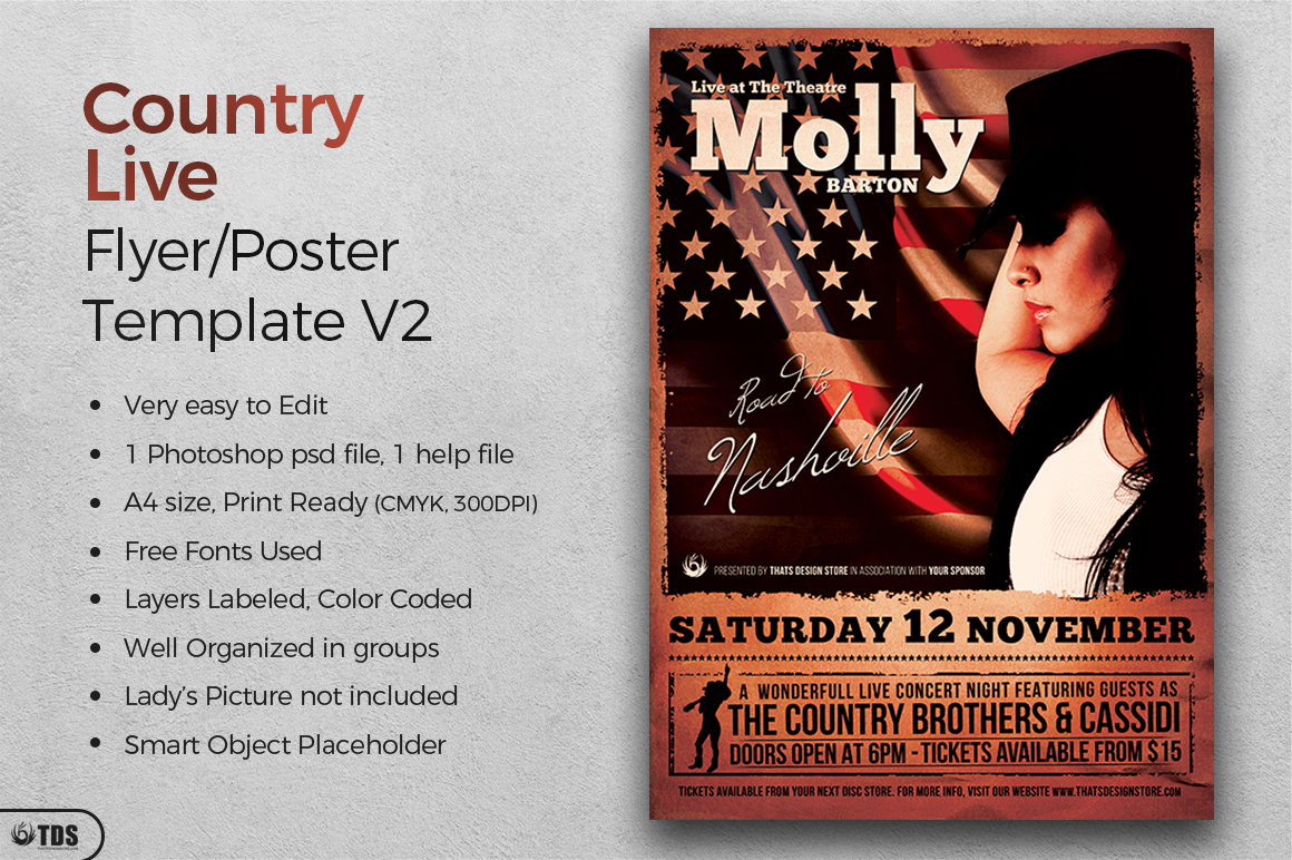 Country Live Flyer Template V2 example image 2