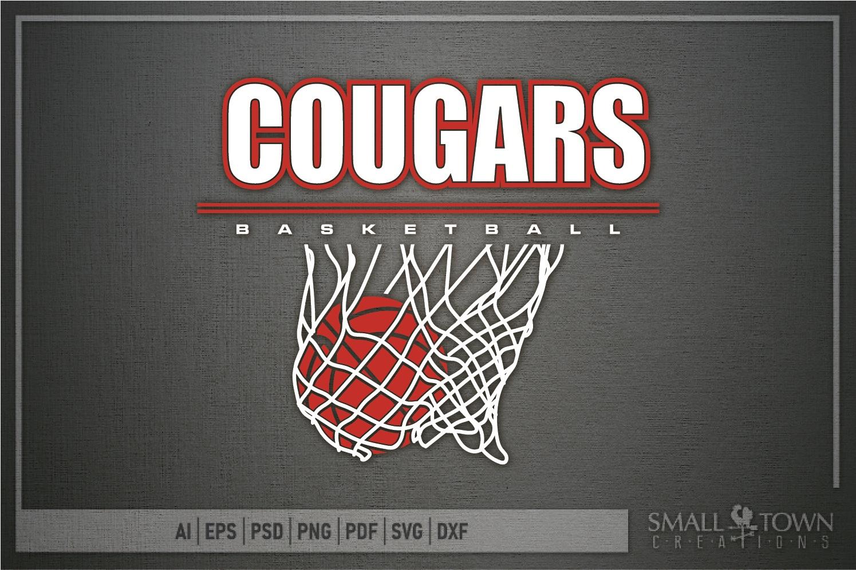 Cougar basketball, Cougars mascot, PRINT, CUT, DESIGN example image 5