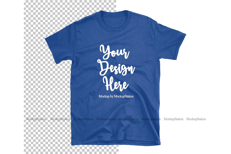 Royal Blue Gildan TShirt Mockup Transparent Background example image 1