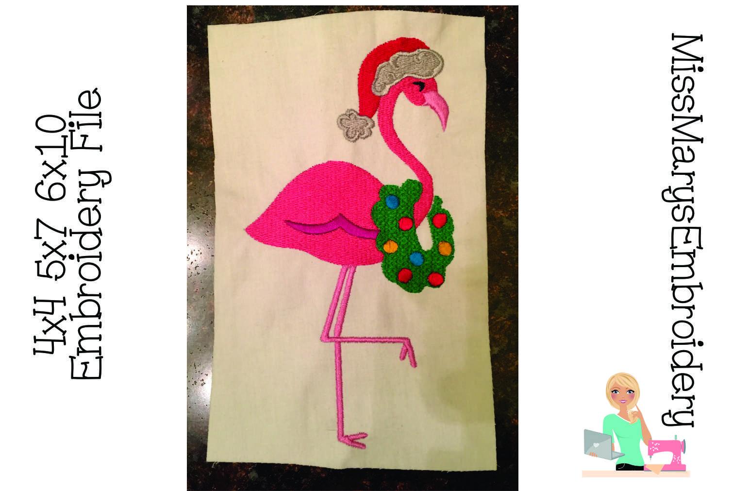 Christmas Flamingo Embroidery example image 1