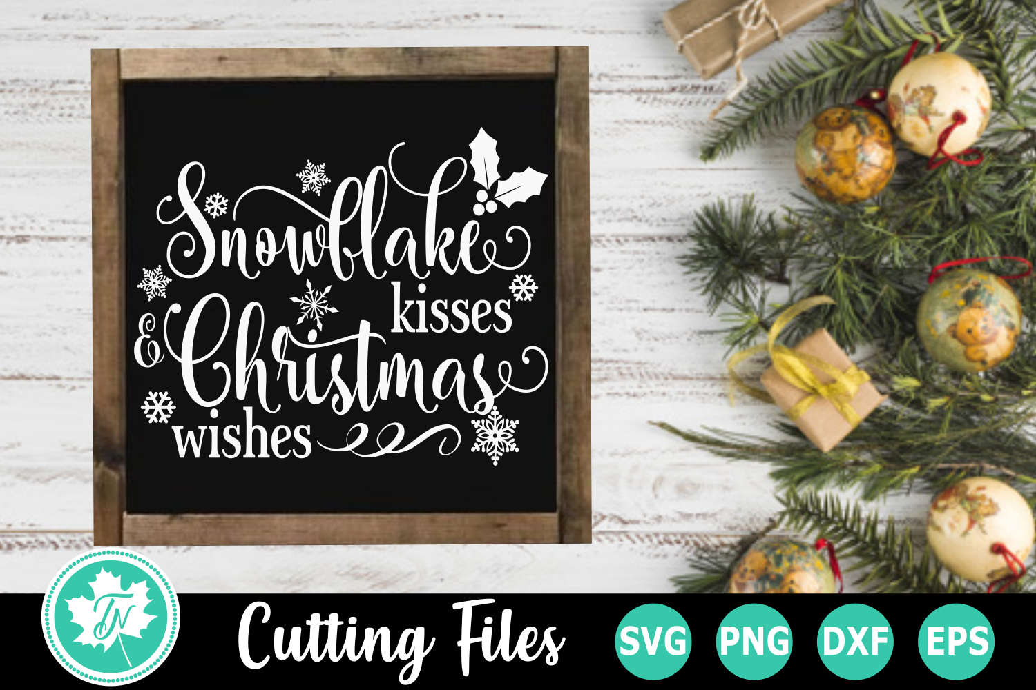 Snowflake Kisses Christmas Wishes - A Christmas SVG Cut File example image 1