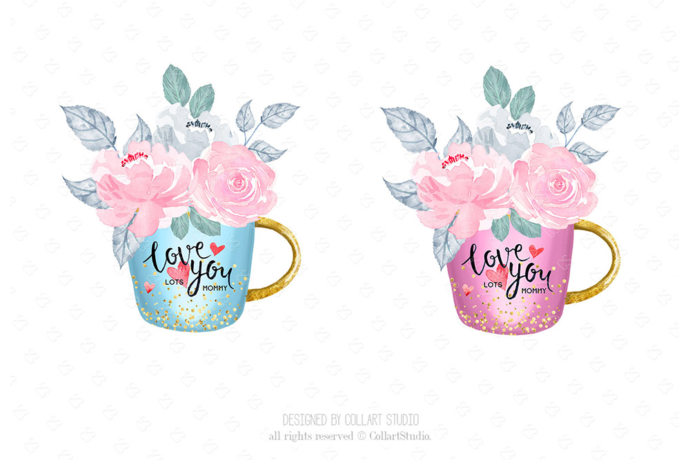 Mother's Day Clip Art, Mother Child Illustrations, Family example image 7