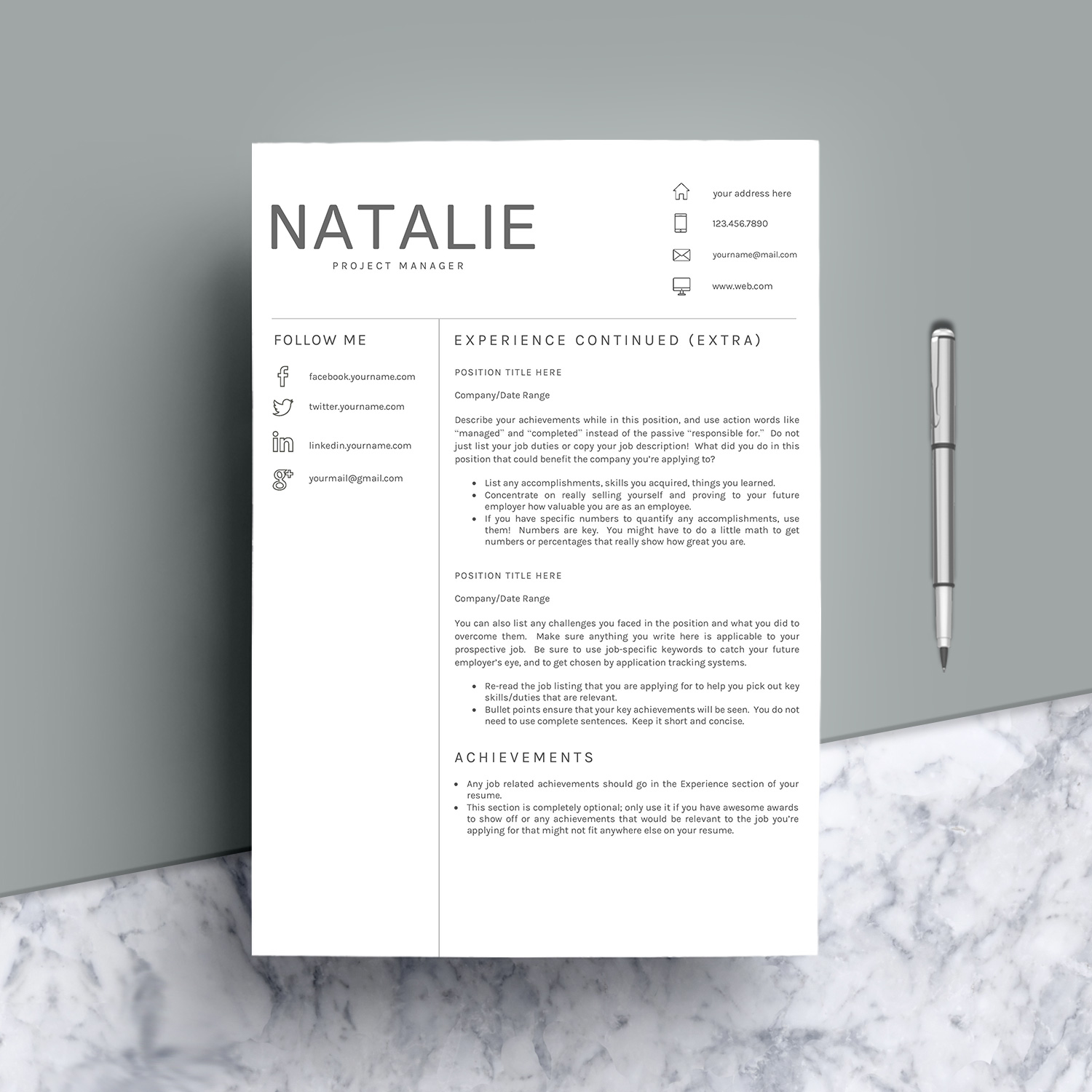 Resume Template CV Word example image 8