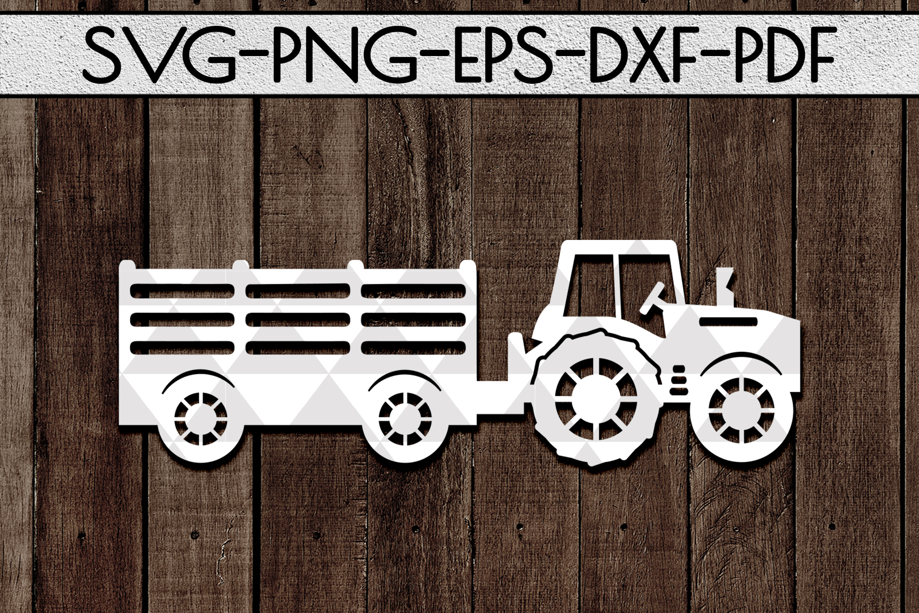 Farm Tractor Papercut Template, Farmhouse Decor, PDF, SVG example image 1