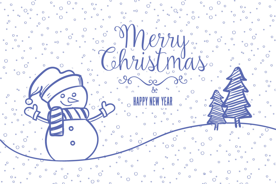 Christmas greeting card hand drawing vector example image 1