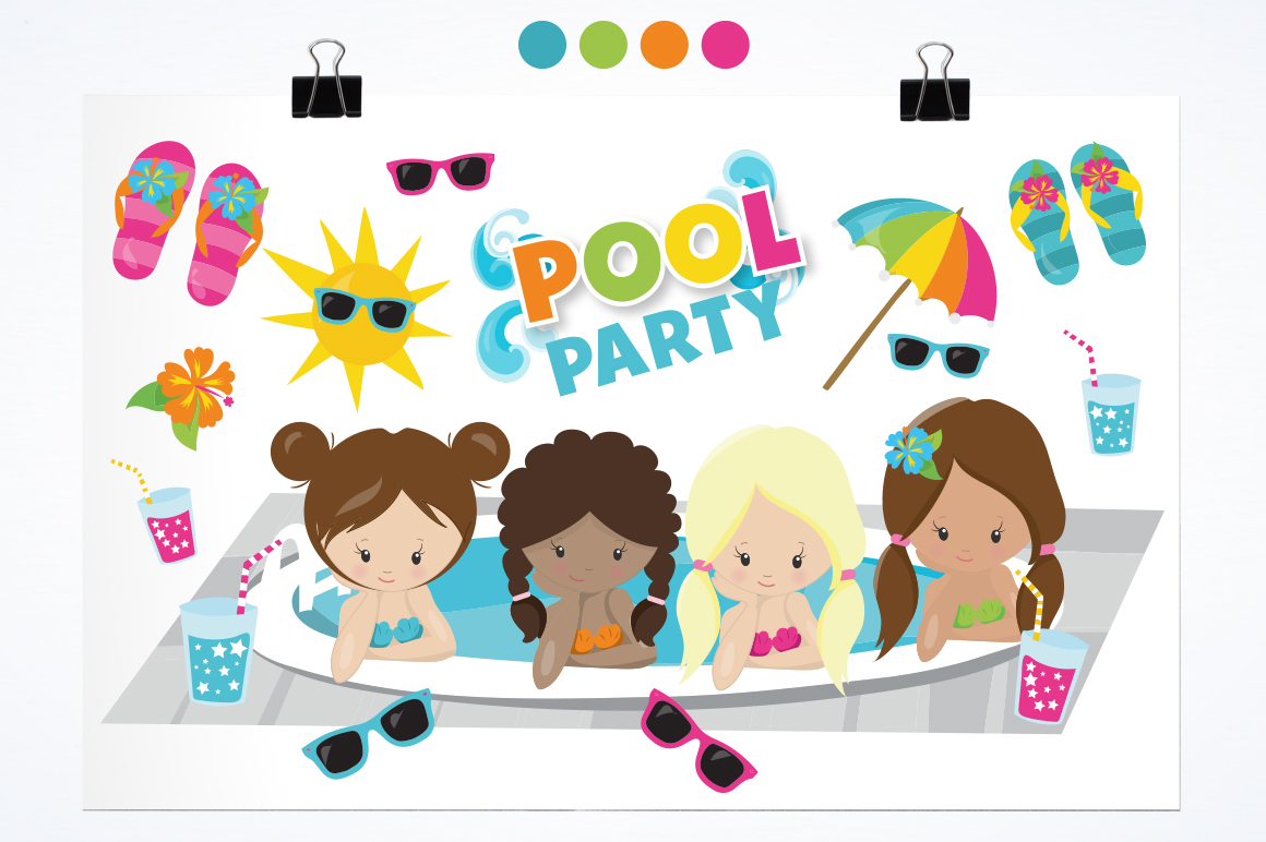 Girls Pool Party graphic and illustrations example image 3