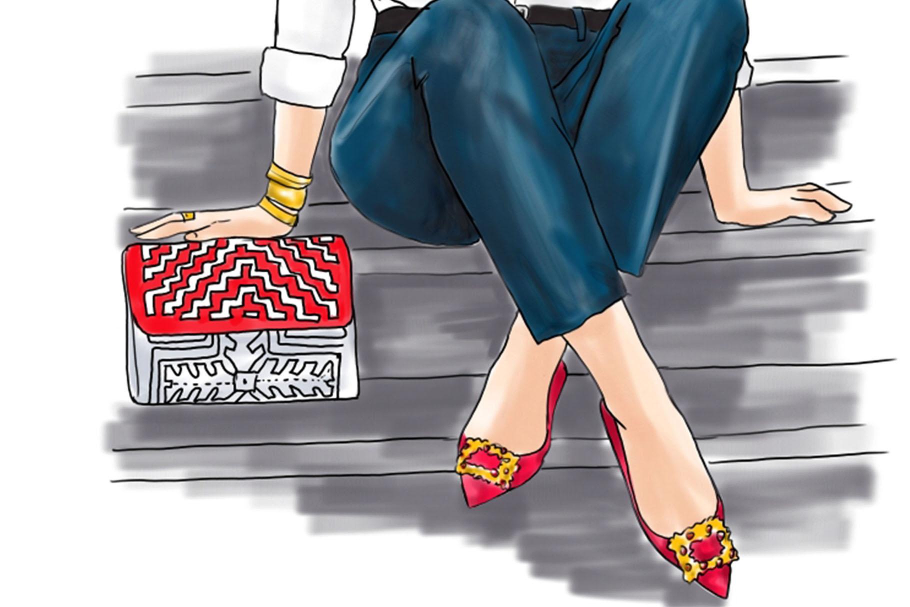 Fashion illustration - Girl in White Shirt & Jeans - Light example image 3