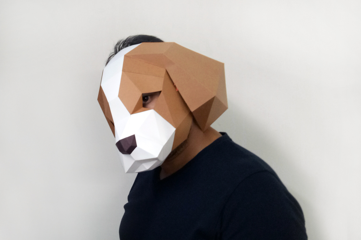 DIY Cocker Spaniel Mask - 3d papercraft example image 7