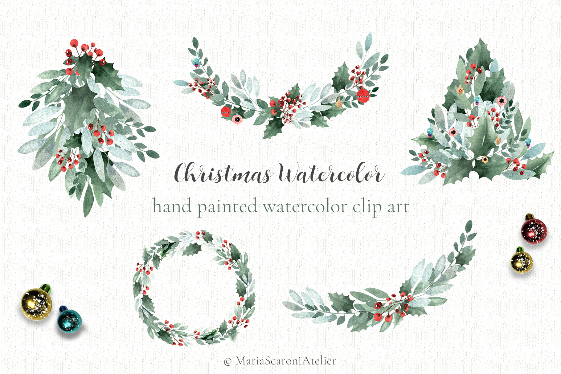 Watercolor Christmas Collection example image 2