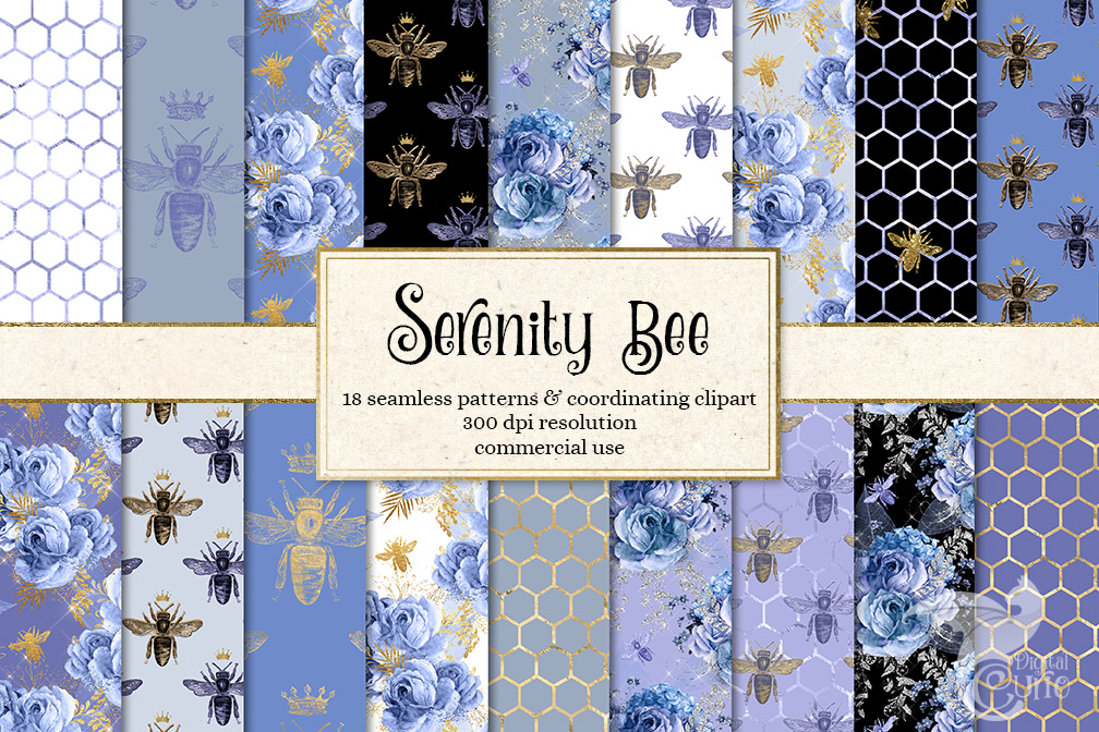 Serenity Bee Seamless Patterns example image 1