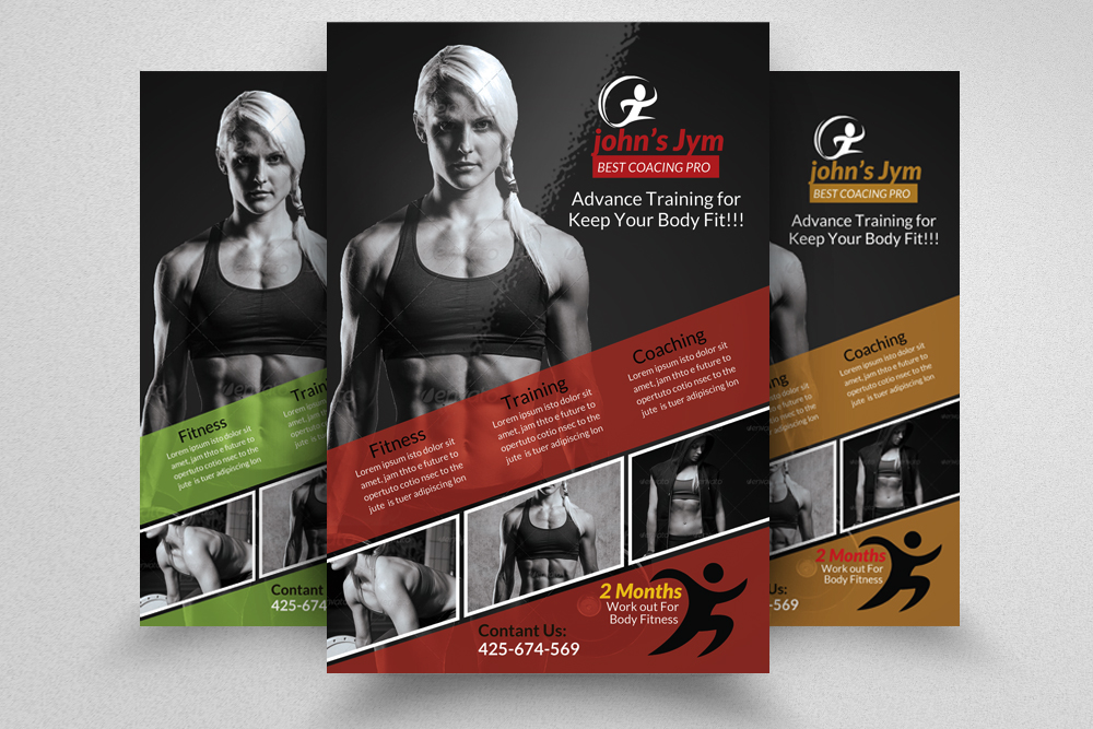 6 Body Fitness Gym Flyers Bundle example image 2