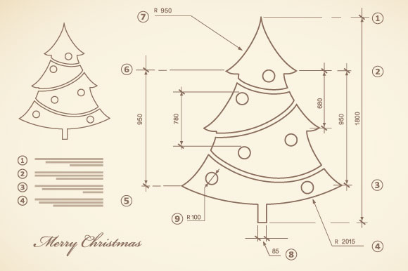 Christmas vector card scheme example image 2