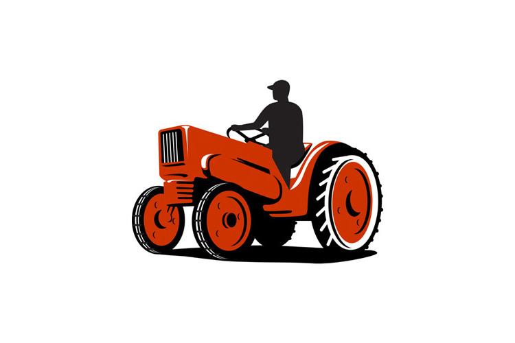 Farmer Driving Vintage Tractor Retro example image 1