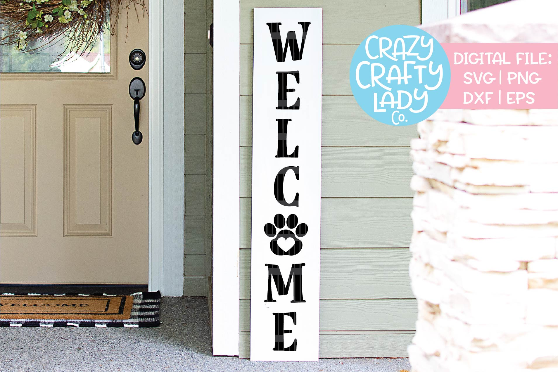 Welcome Paw Print Porch Sign SVG DXF EPS PNG Cut File example image 1