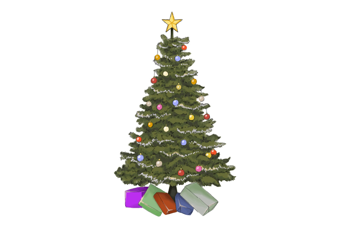 Christmas tree hand painting vector example image 1