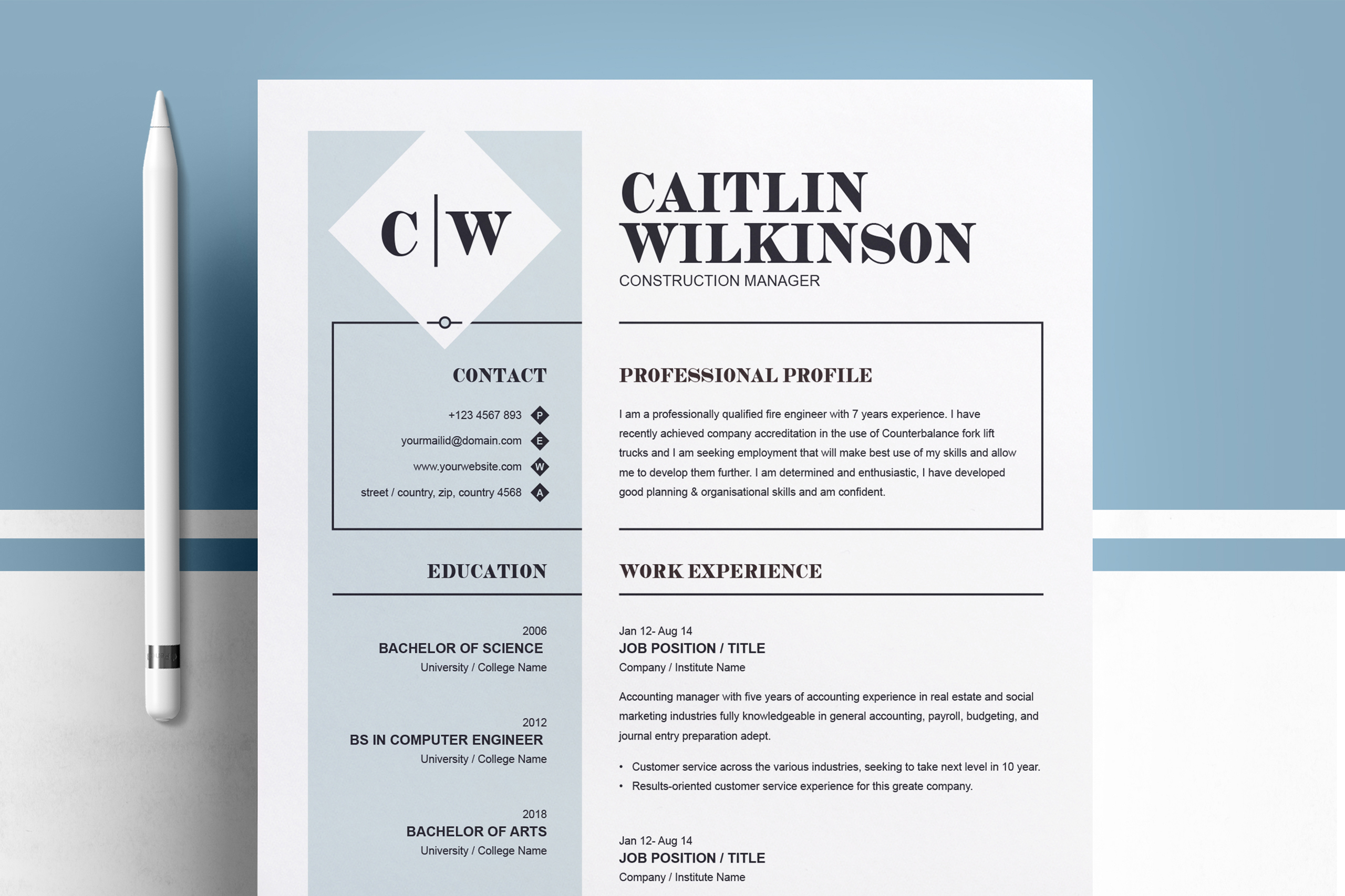 Professional Resume Template | MS Word, PSD, EPS example image 1