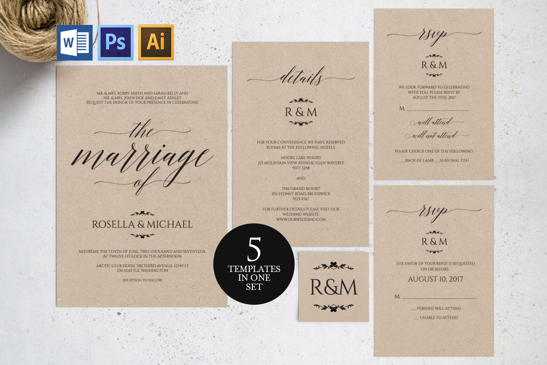 Wedding invitation set portrait, TOS_13 example image 1