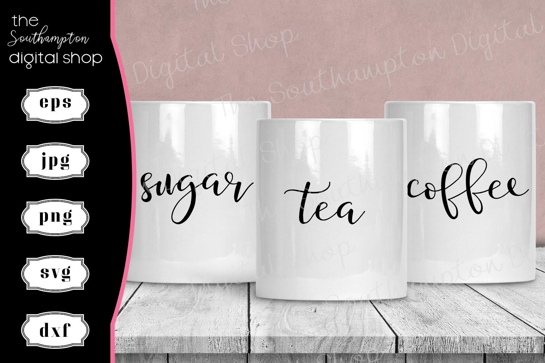 Tea Coffee Sugar Hot Chocolate Creamer Labels V1 example image 1