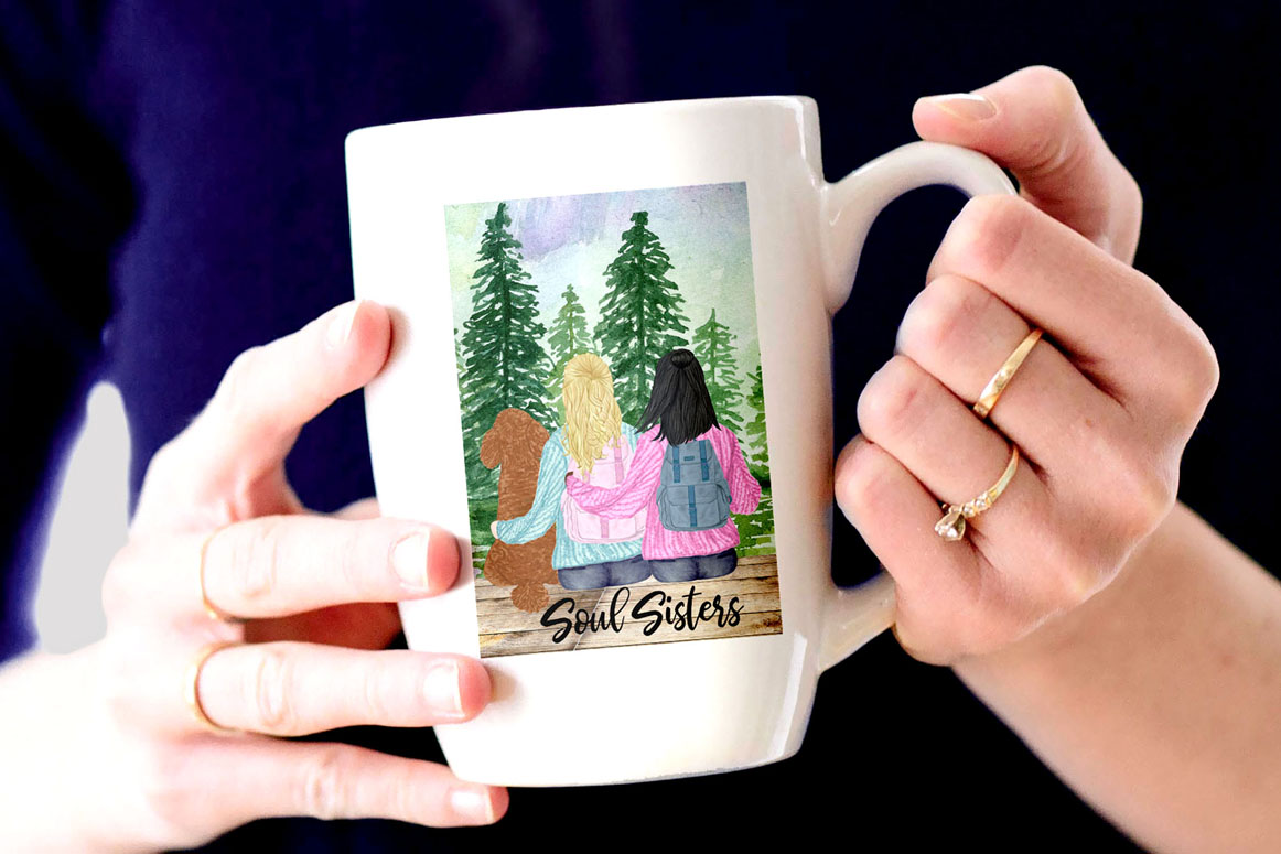 Girls clipart,BEST FRIEND CLIPART,Planner Girls Mug Designs example image 2