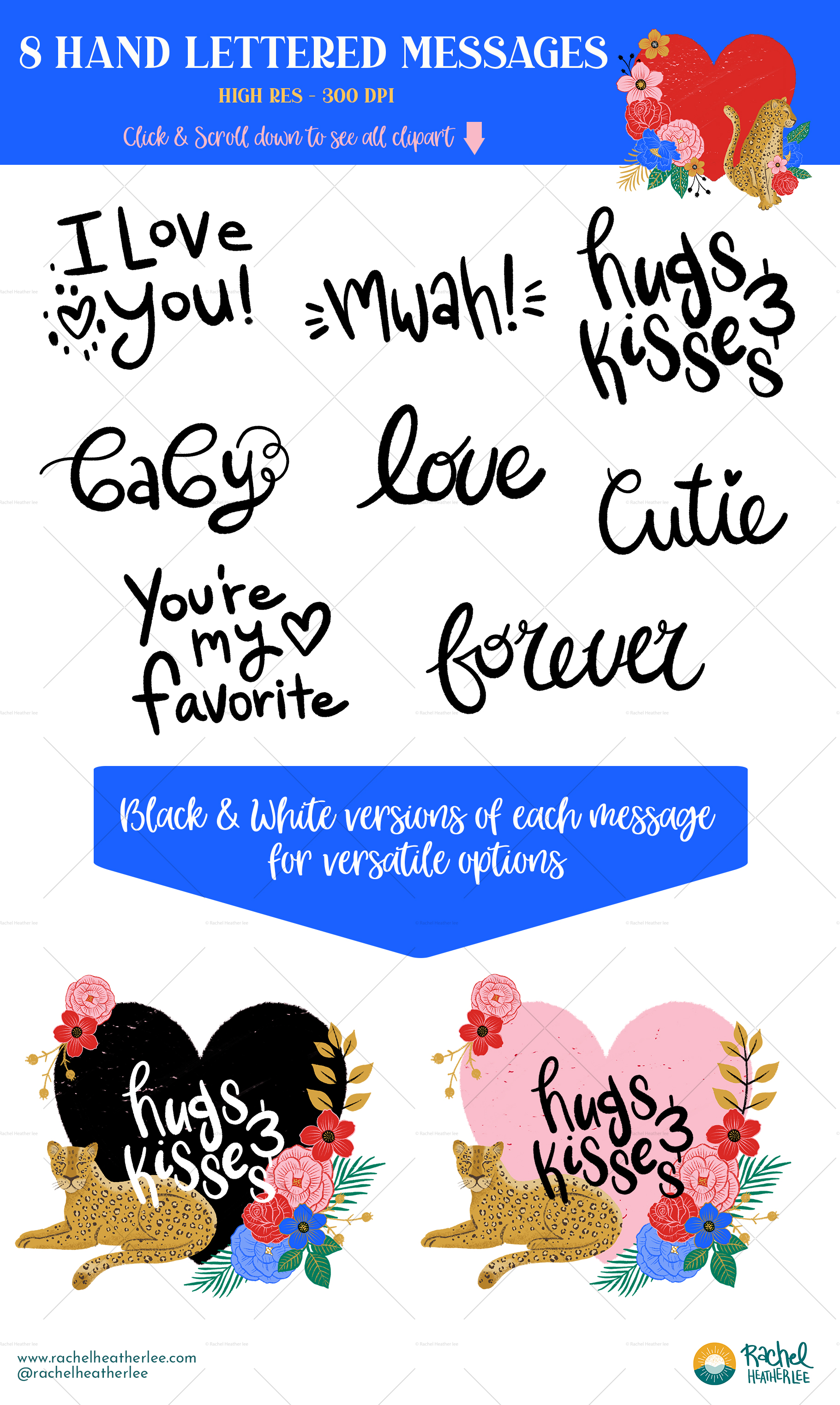 Leopard Floral Clipart & Patterns example image 6