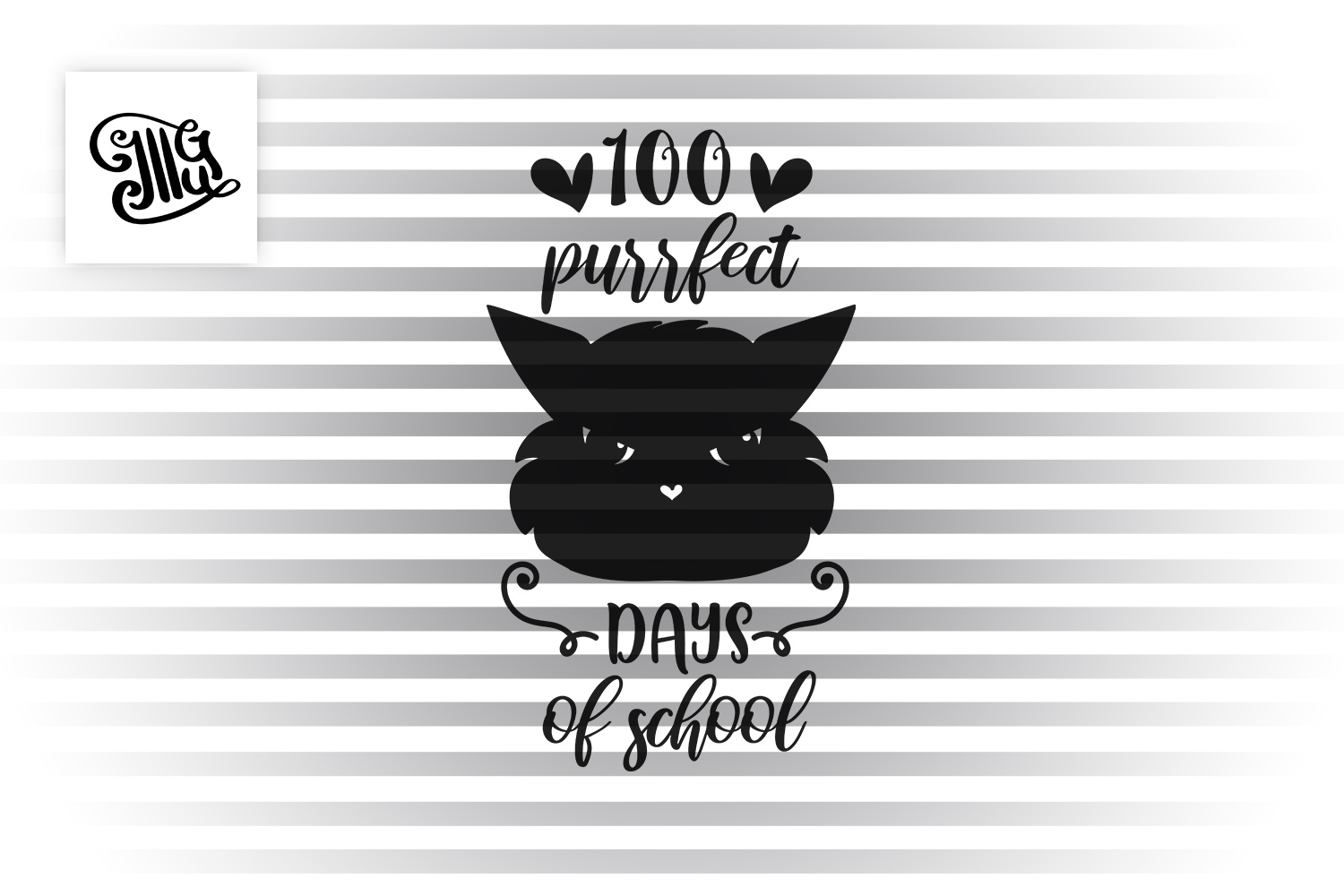 100 days of school for girl and teacher svg with cat example image 2