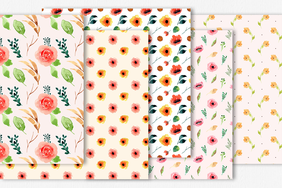 Floral Watercolor Digital Papers Vol.1 example image 2