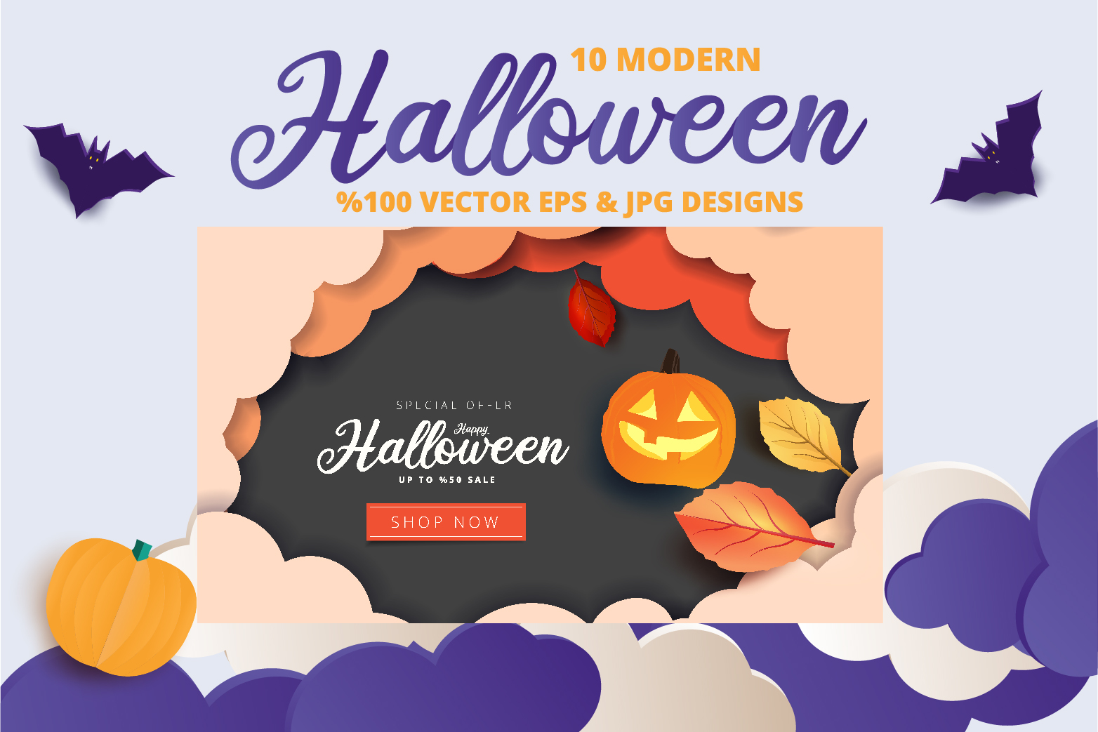 Halloween Sale header or banner design and invitation flyer example image 5