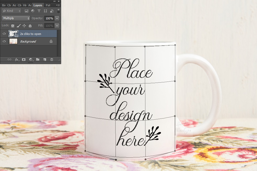 White coffee mug mock up vintage rustic floral example image 6