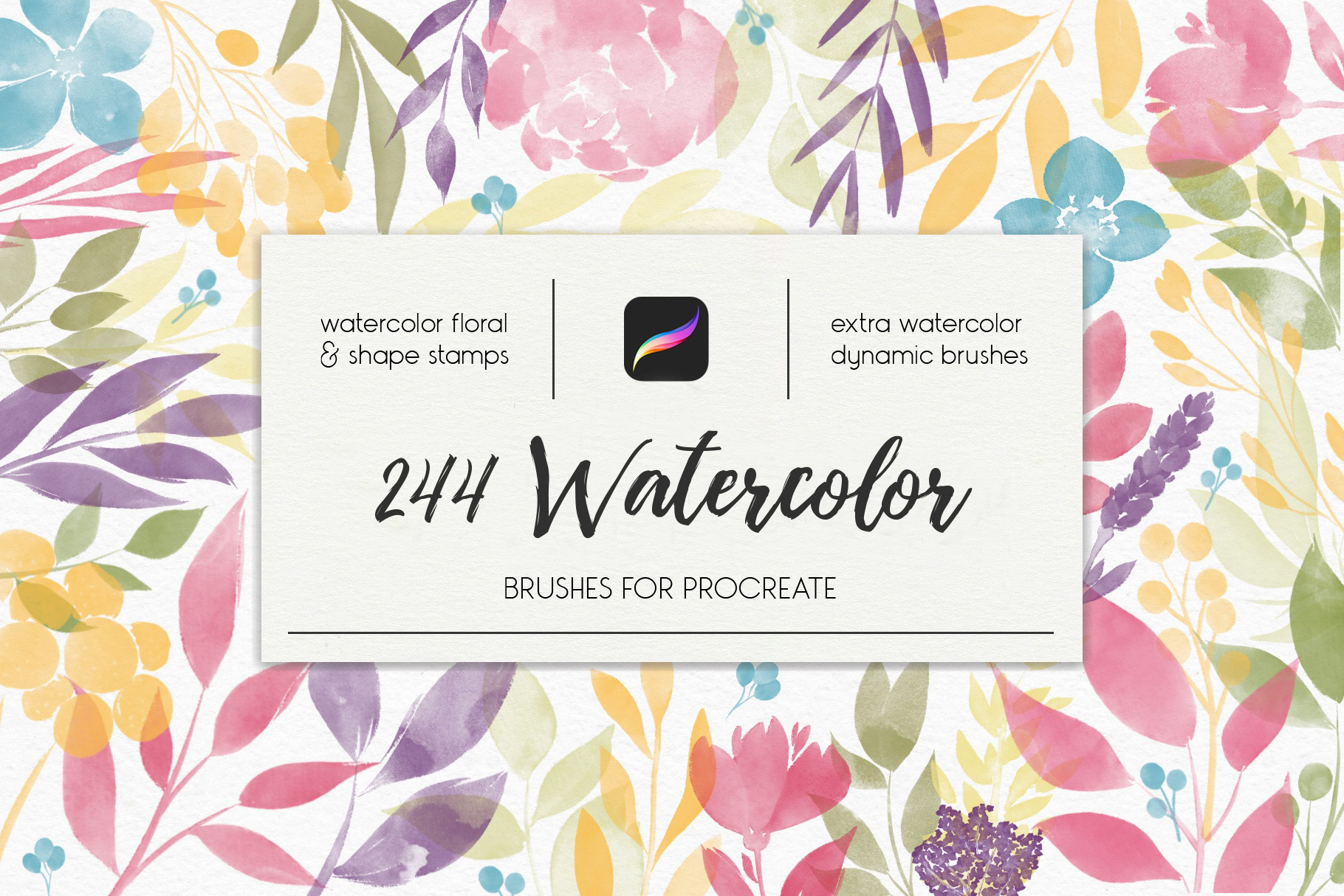 244 Watercolor Brushes For Procreate example image 1