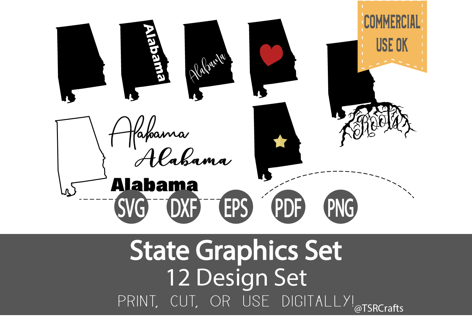Alabama State Graphics Set - Clip Art and Digital Cut files example image 1