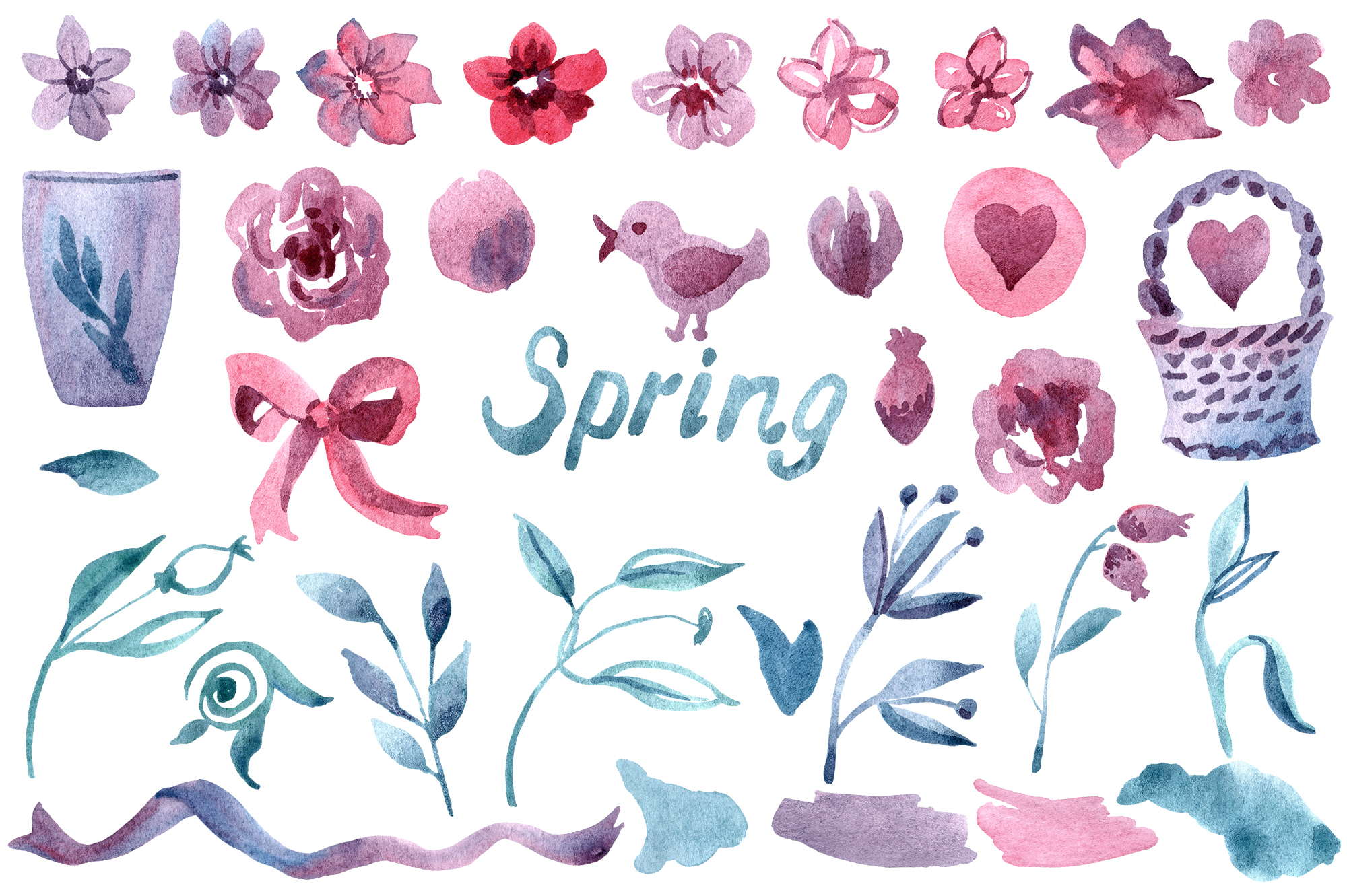 Watercolor spring flower set example image 2