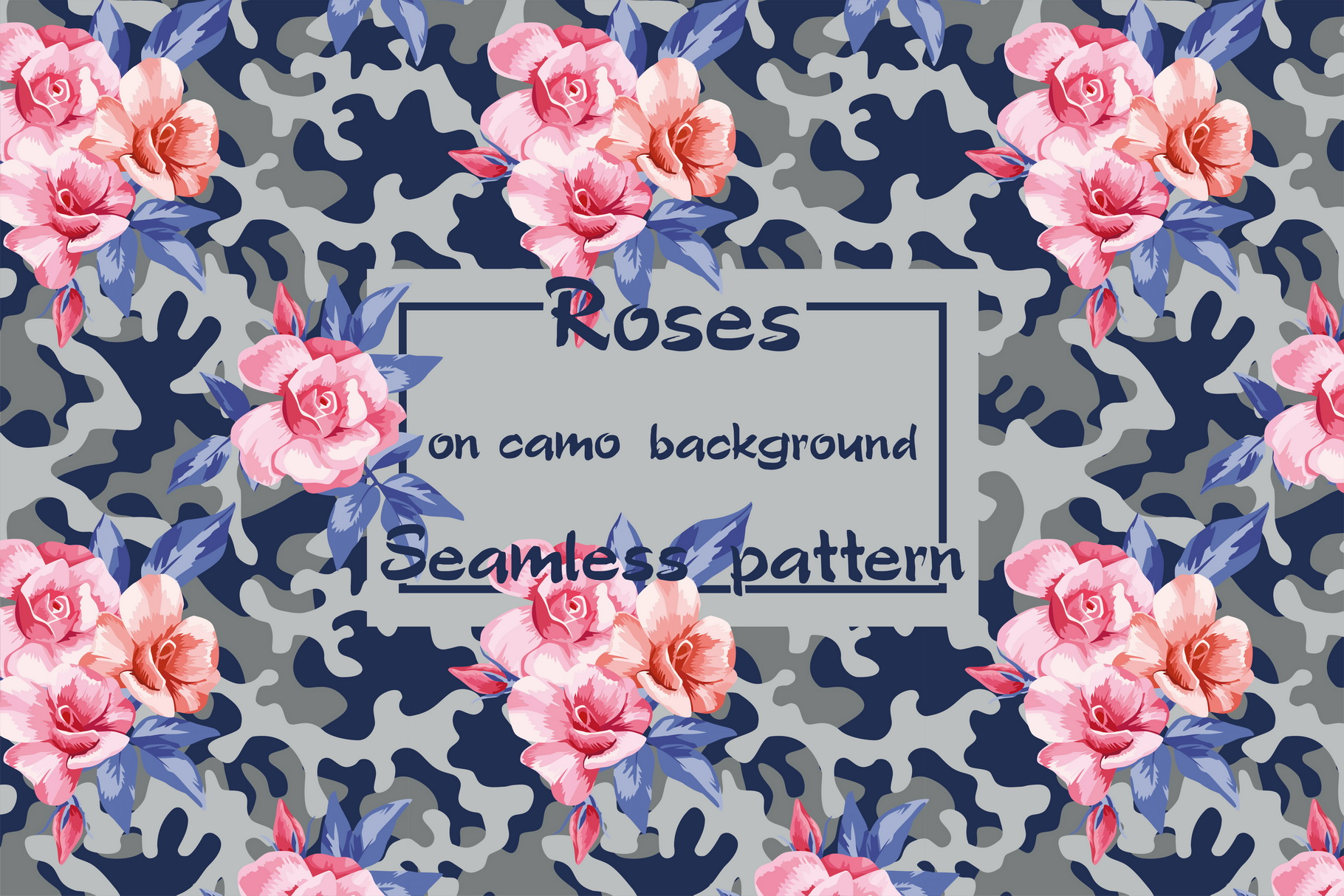 Pink roses on the camo background example image 1