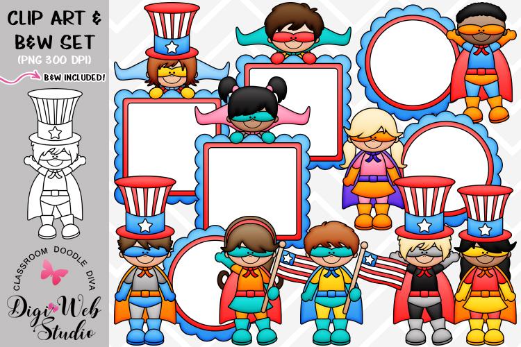 Clip Art / Illustrations - Superhero Patriotic Kids example image 1