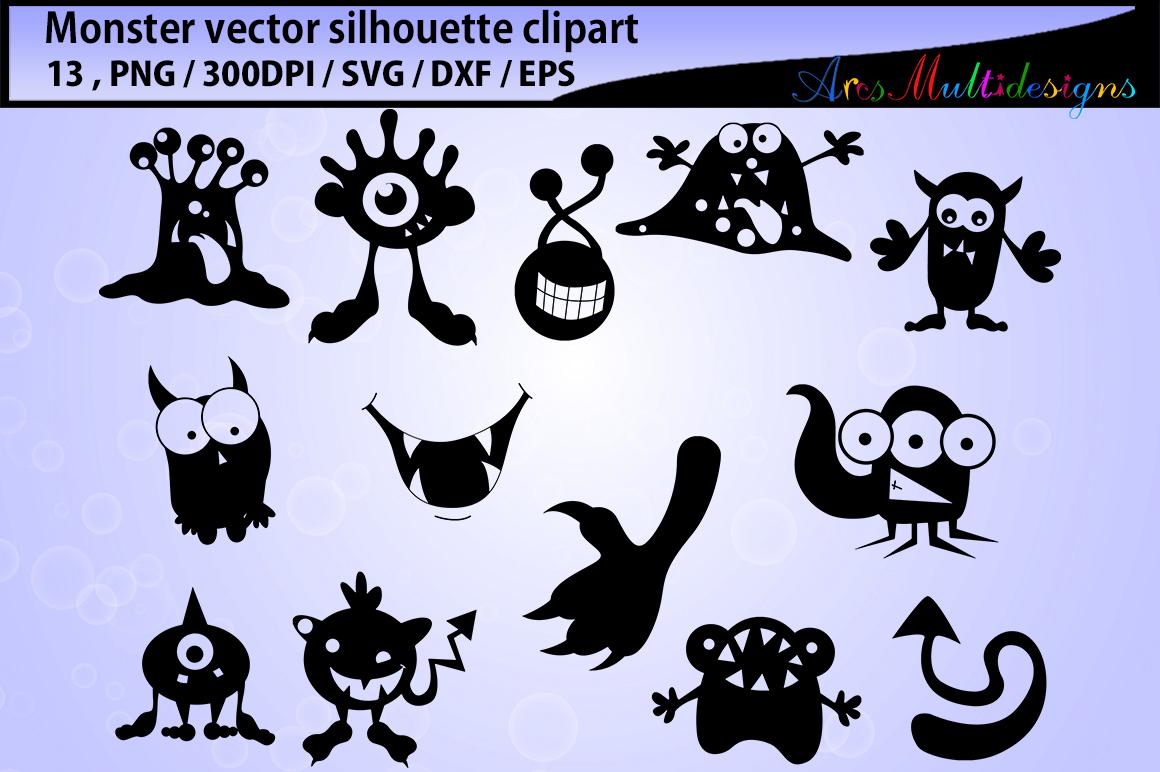 Monster silhouette clipart / cute monster SVG / monster svg vector/ monster SVG / Eps / Png / monster clip art / monster silhouette svg example image 1