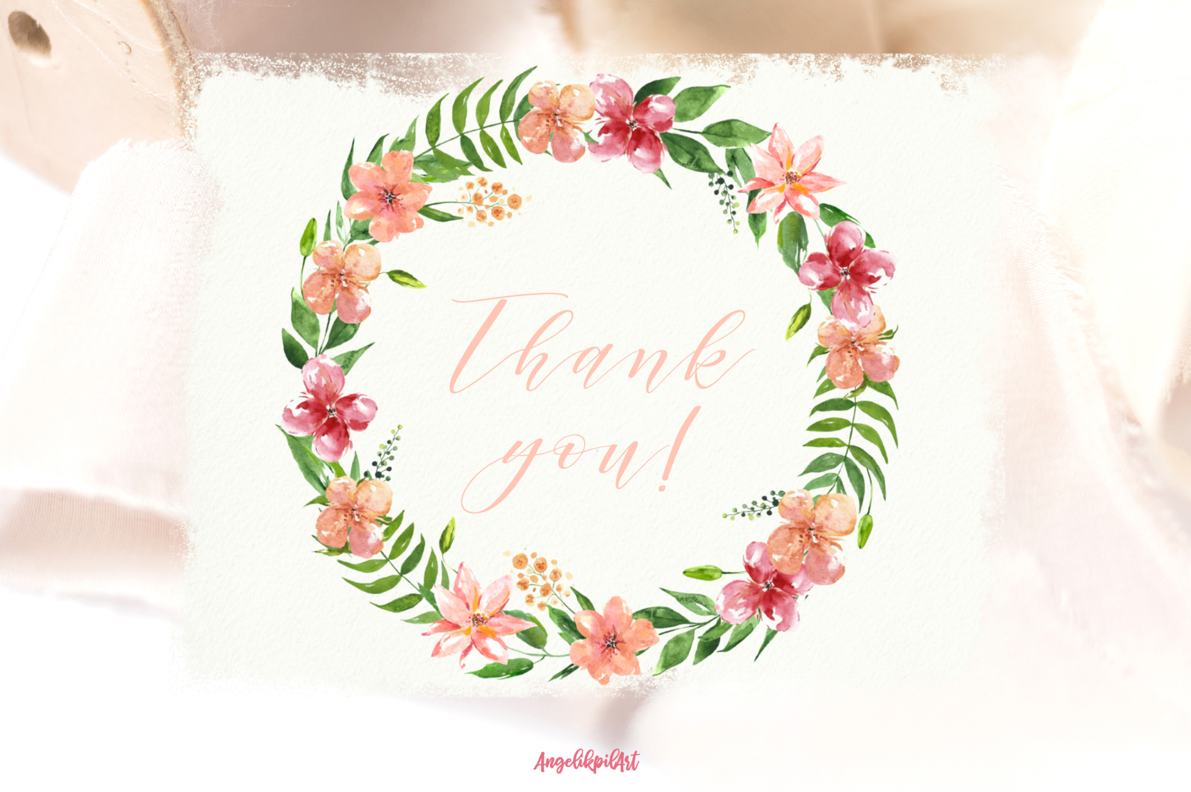 Watercolor pink flowers Clip Art example image 9