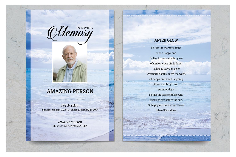 Sea Beach Funeral Prayer Card Template example image 2