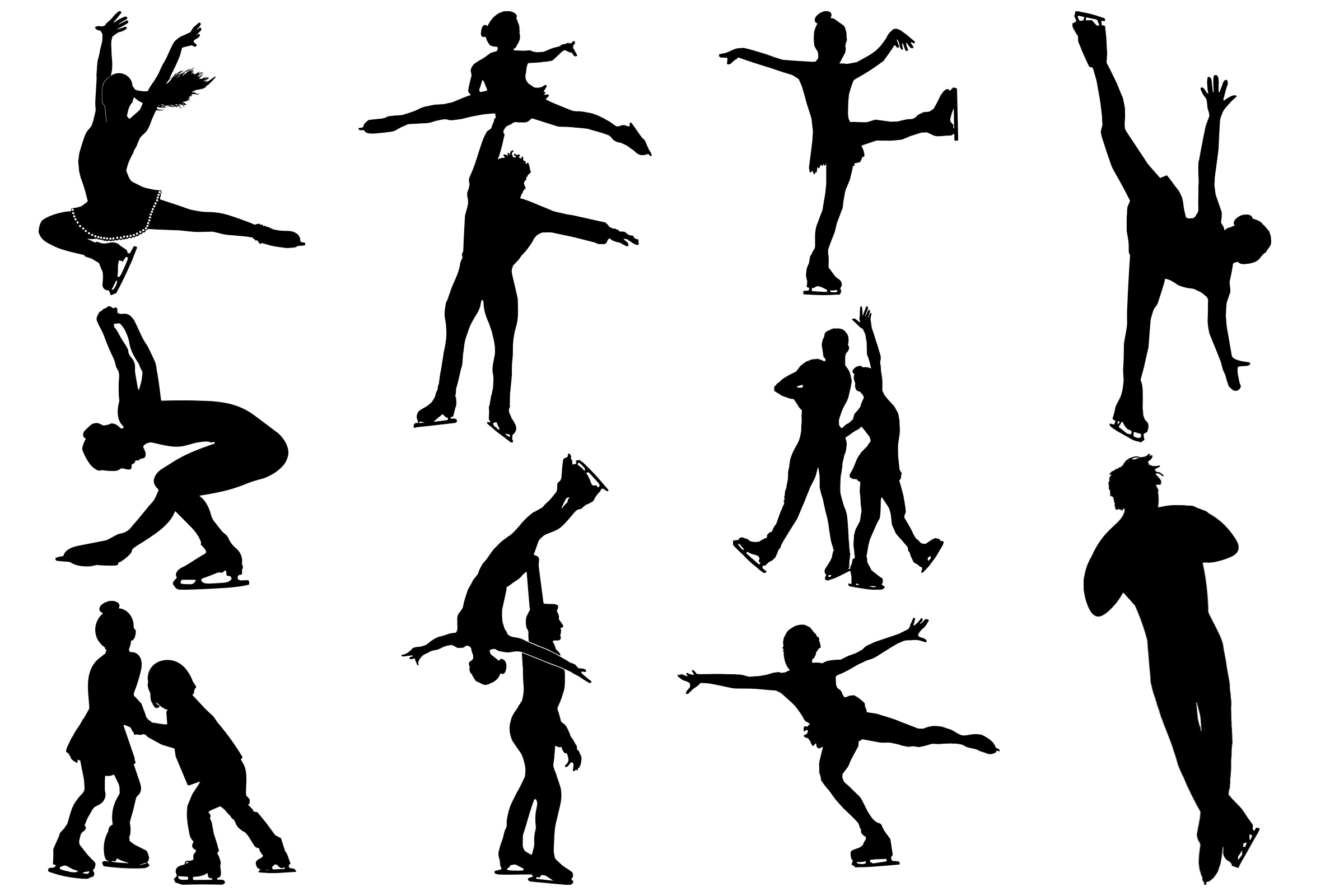 Ice Skating Silhouettes AI EPS PNG, Figure Skating example image 2