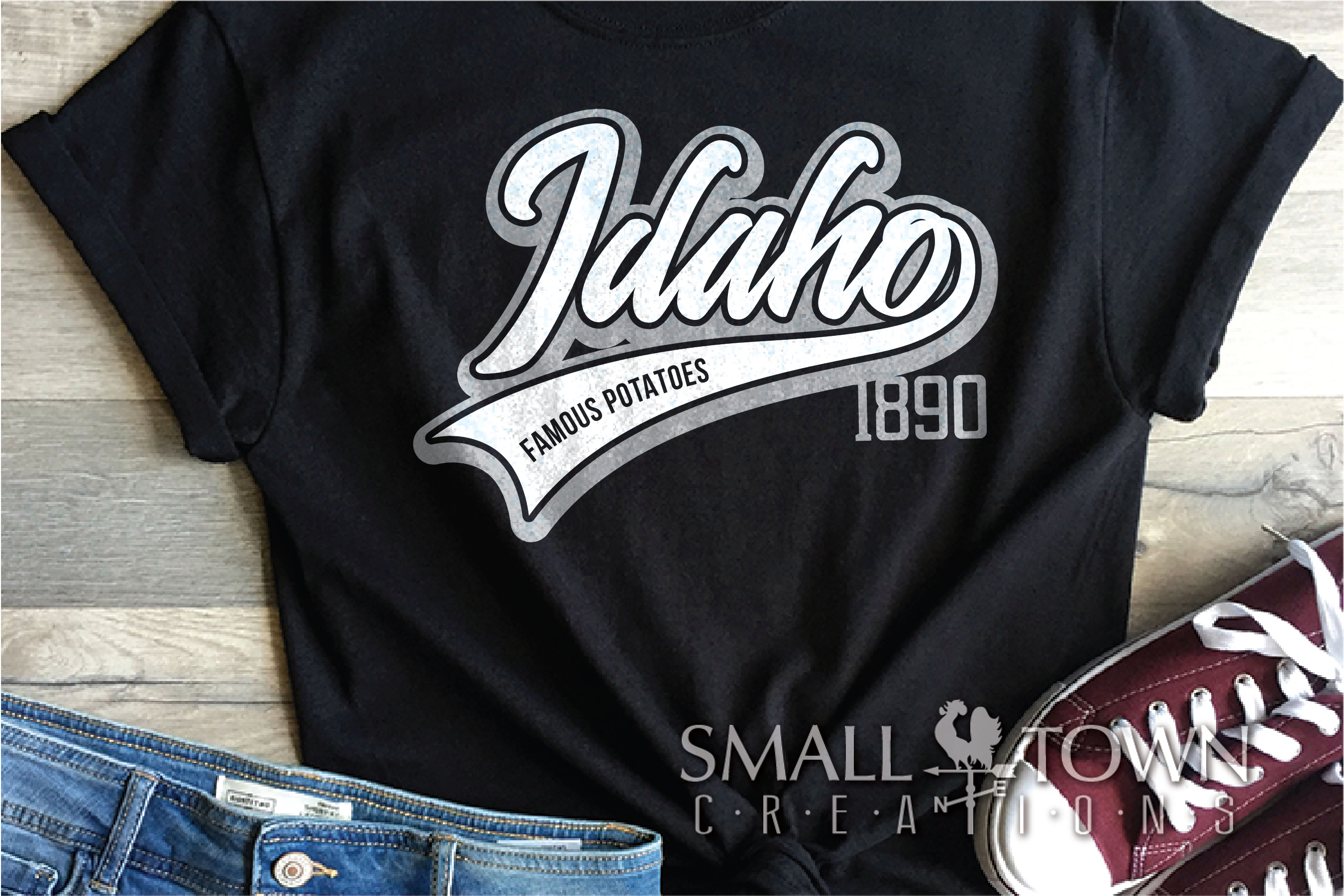 Idaho, Famous Potatoes- slogan, Logo, PRINT, CUT & DESIGN example image 6