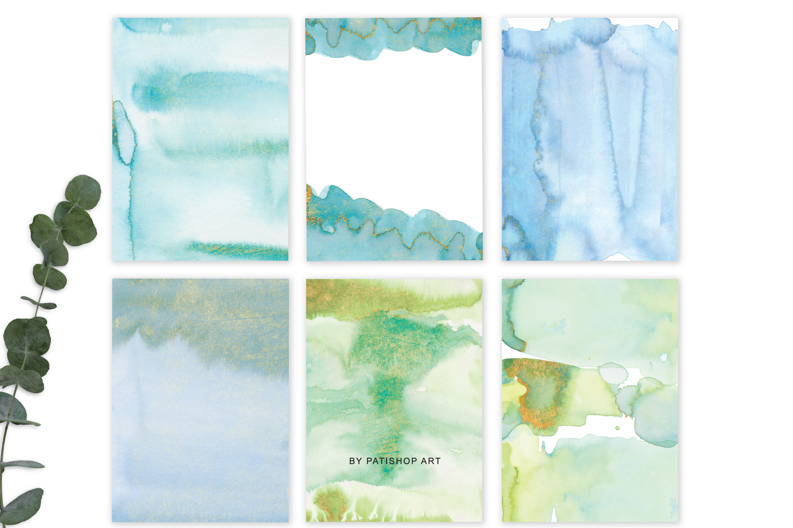 Watercolor Glittered Green & Turquoise Background 5x7 example image 7
