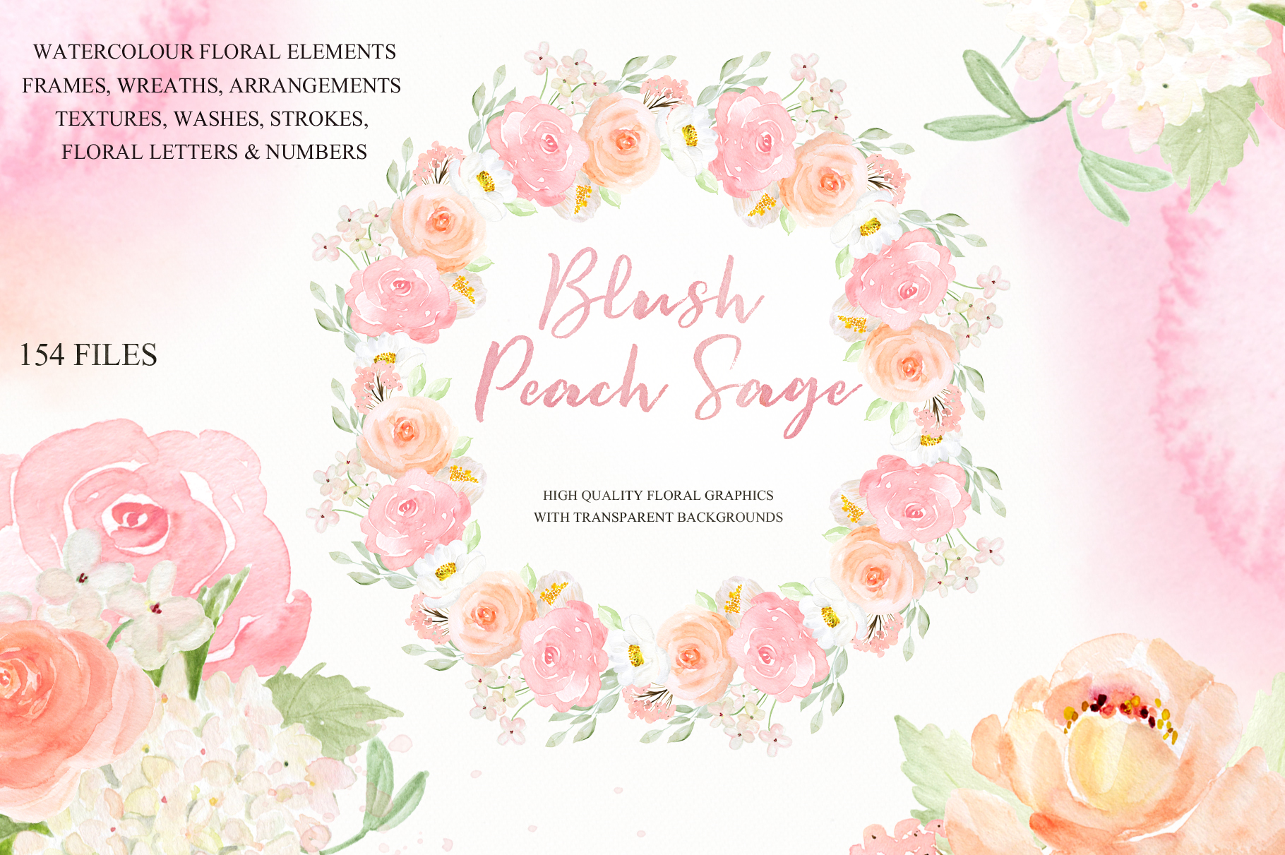 Blush Peach Sage Watercolor flowers clipart example image 1
